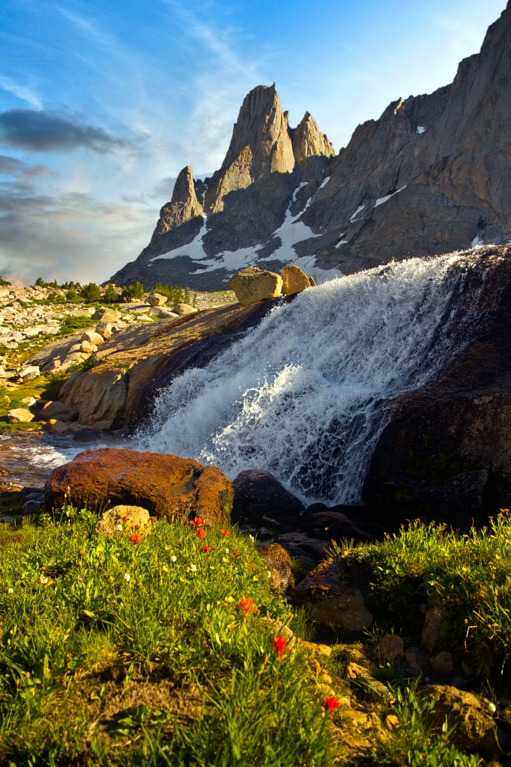 Warbonnet Peak and Waterfall, Cirque of the Towers