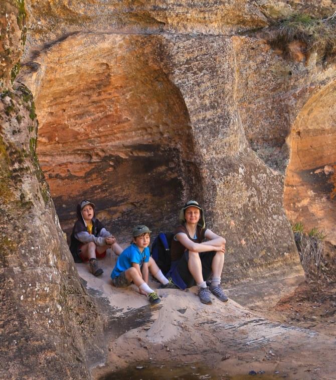 Hidden Canyon hikers close up em