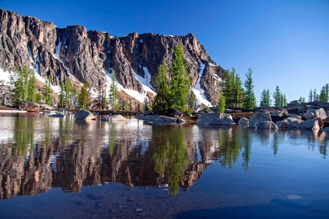 Amphitheater Mountain Reflected Cathedral Peak, Pasayten Wilderness 3em