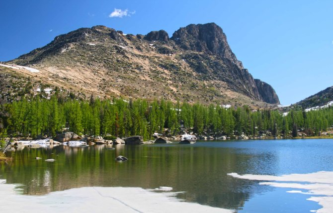 Cathedral Peak from Upper Cathedral Lake, July 2010em