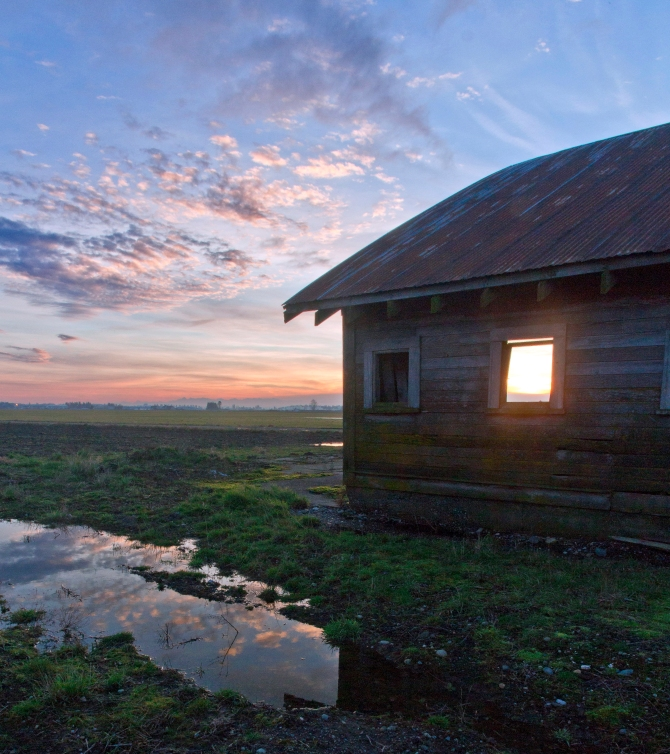 sunset through an open window