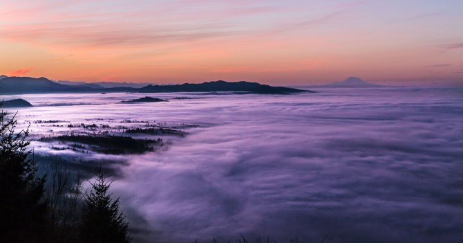 Skagit Valley at sunrise from Samish Overlook
