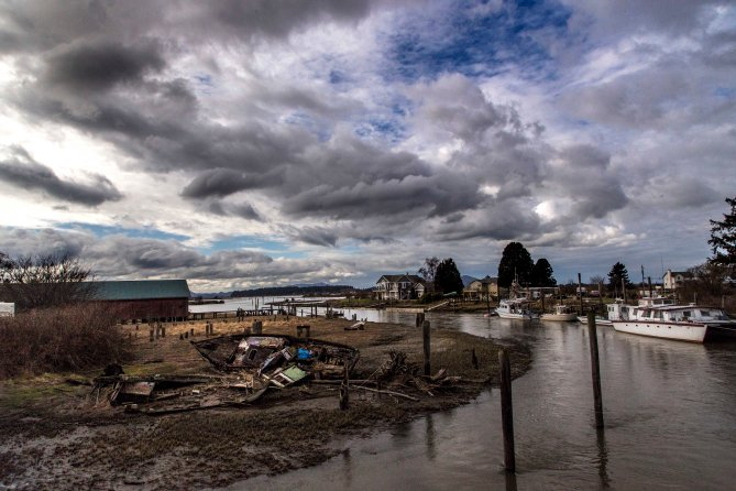 Samish River Boat and Clouds