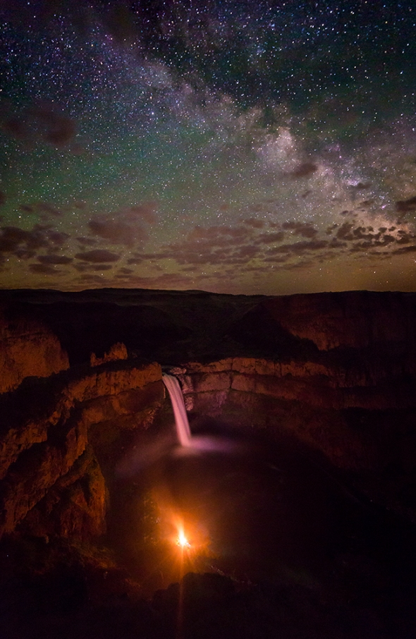 Palouse Falls and camp fire