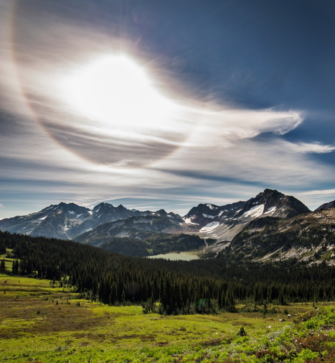 Upper Lyman Basin from Cloudy Pass. The sun halo was...real!