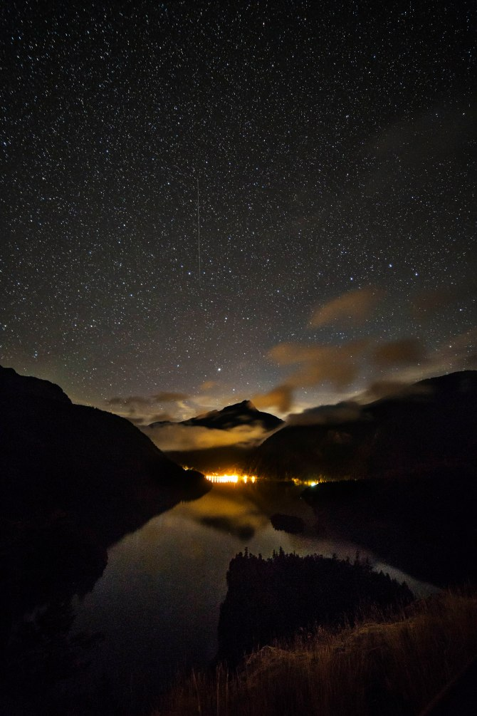 Starry night over Diablo Dam
