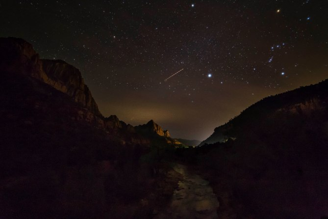 Virgin River at Night, Zion National Park, Utah