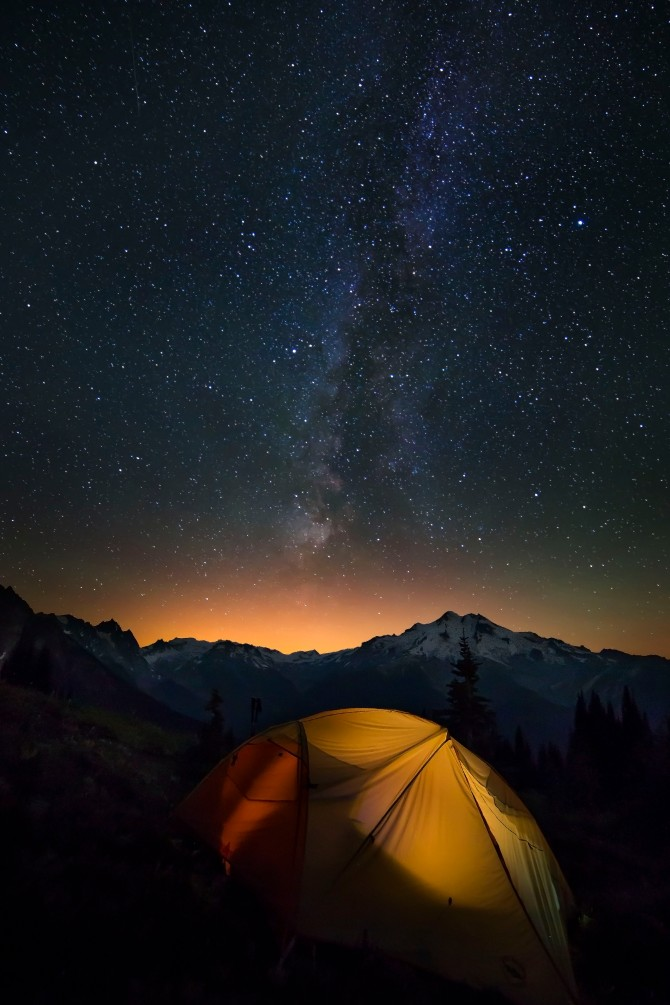 Glacier Peak with Tent and Stars