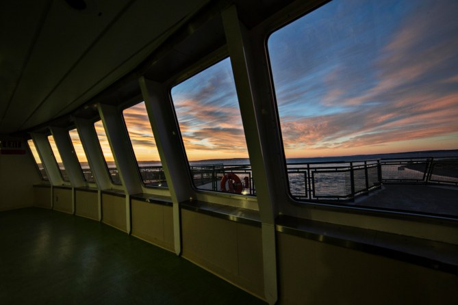 Washington State Ferry Sunrise: Looking Out