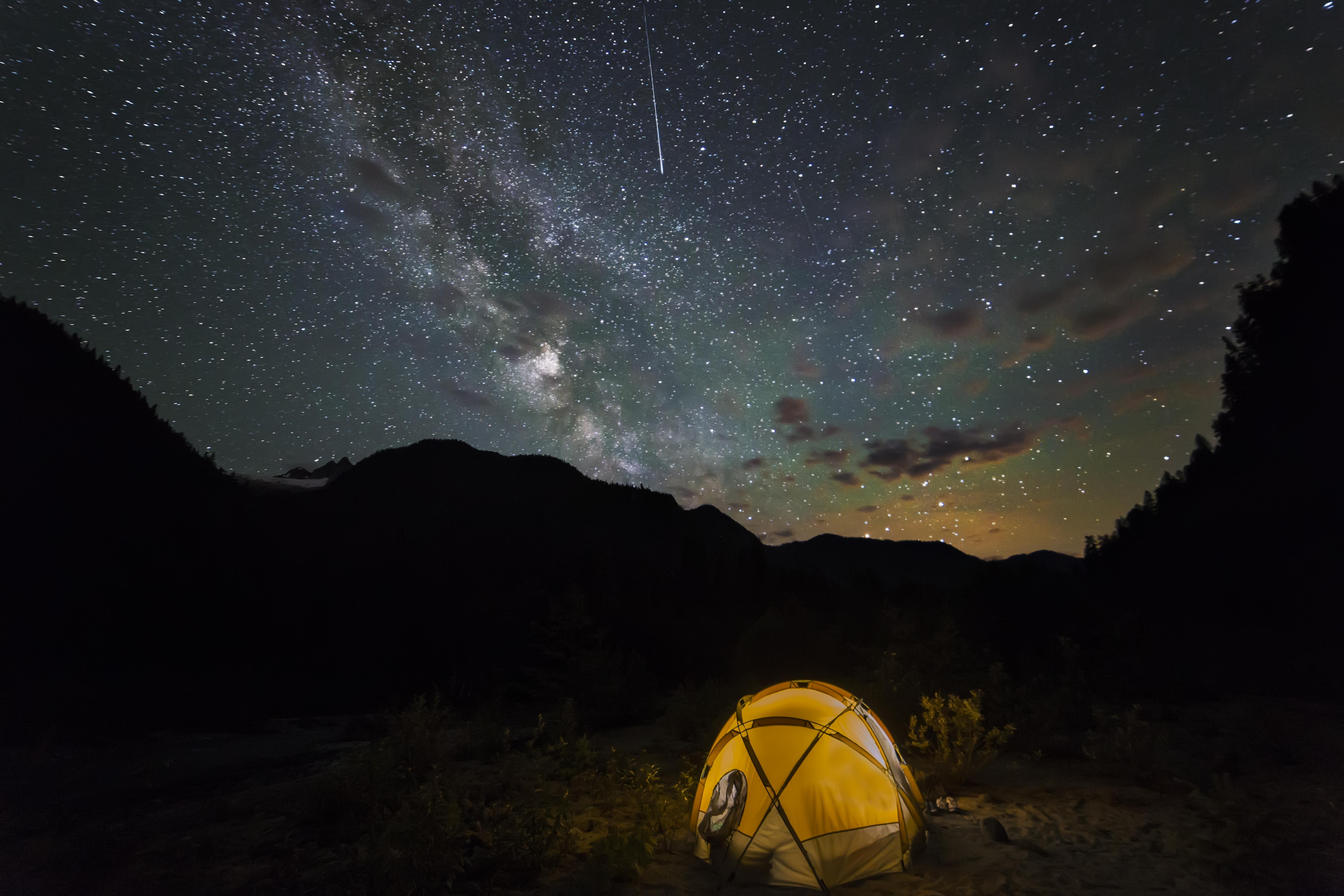 Milky Way and Shooting Star & Milky Way Northern Lights and a Cool Tent | North Western Images ...