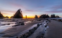 Point-of-the-Arches-at-Sunset,-Olympic-National-Park